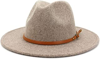Women Belt Buckle Wool Wide Brim Fedora Hat