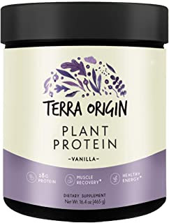 Terra Origin, Plant Protein, Powder, Vanilla, 15 Servings Includes Organic Brown Rice Protein and Pea Prote...
