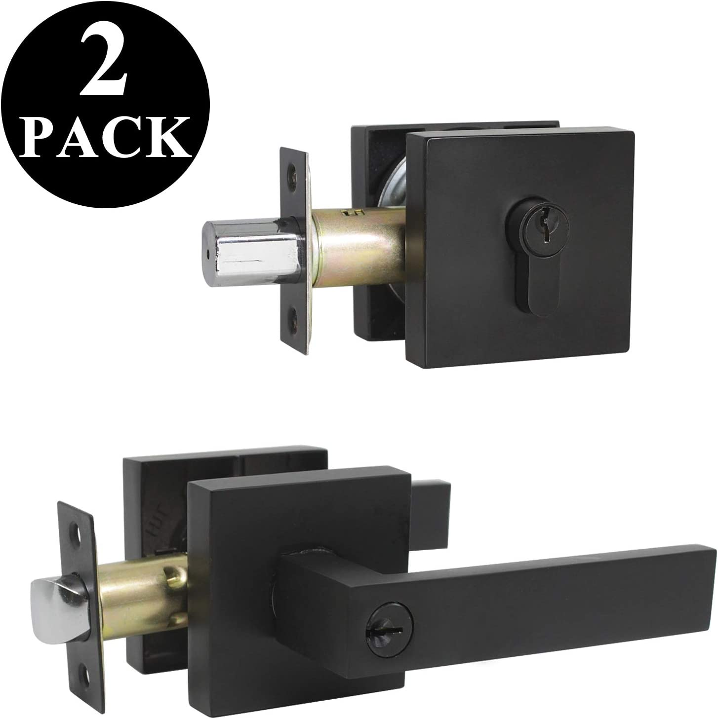 Heavy Duty Flat Black Entry Door Lockset for Right and Left Side for Office and Front Door 1 Pack Probrico Square Entrance Lever with Single Cylinder Deadbolt Set Keyed Alike Combo Pack
