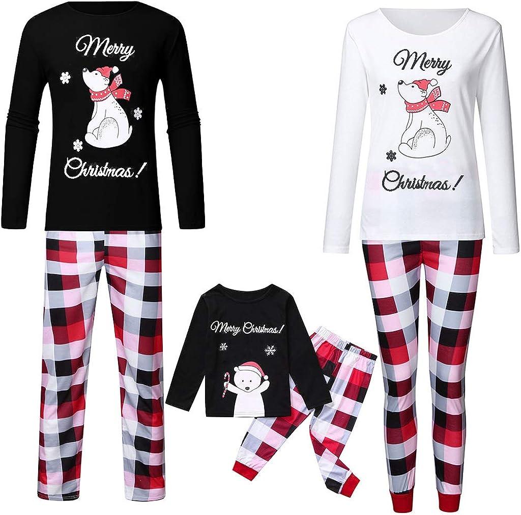 Family Matching Christmas Pajamas Set Long Sleeve Top and Pants PJs Sleepwear