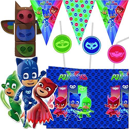 Procos/Carpeta 53-TLG. Deko-Set * PJ Masks * für Kindergeburtstag & Mottoparty   mit Tischdecke + Girlande + Ballon u.v.m.   Kinder Motto Pyjama Helden Catboy Gecko