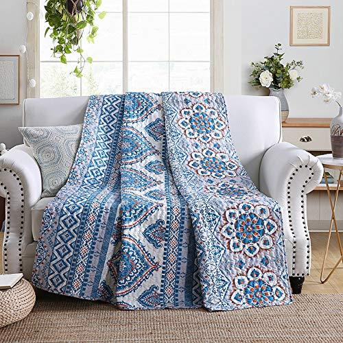 Qucover Tagesdecke 150x200 cm Boho, Gesteppte Decke aus Baumwolle, Premium Quilted Blanket, ganzjährig nutzbar, Hellblau