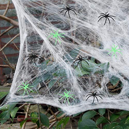 Decorazioni di Halloween Ragnatele di ragno - Ragnatele da 1000 piedi quadrati +100 ragni neri +50 ragni, Ragnatela spettrale da esterno interni con ragni falsi per decorazioni per feste di Halloween