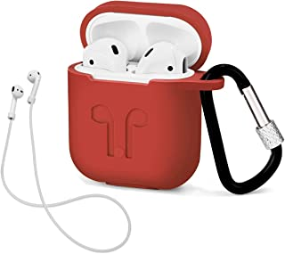 LIKDAY AirPods Case with Strap Protective Silicone Cover with Carabiner for Apple Airpods Accessories (Red)