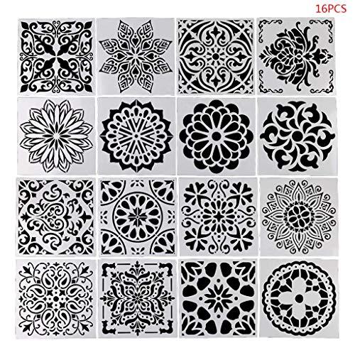 Juego de plantillas de mandala, 16 piezas/juego de plantillas de dibujo de mandala, plantilla de dibujo, tabla de pintar, álbum de manualidades, decoración
