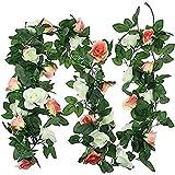 YYHMKB - Paquete de 2 Flores Artificiales de Vid de Rosas, Plantas, Flores Falsas, Colgantes, guirnaldas de Rosas, Flores de Seda realistas, decoración artística de para decoración, champán y Blanco