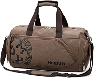 Travel Duffle Bag, Canvas Luggage Bag,Weekend Bag with Shoes Compartment (Color : Brown)