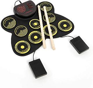 Benkeg ポータブル電子ドラムセットUSBロールアップドラムパッドキット9 Drumpads内蔵スピーカー、ドラムスティックとフットペダルデジタルパーカッション楽器