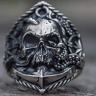 WGY Seemann Edelstahl Ring Einzigartige Kompass Octopus Tentacle Skull Biker Ringe Punk Sailor Schmuck