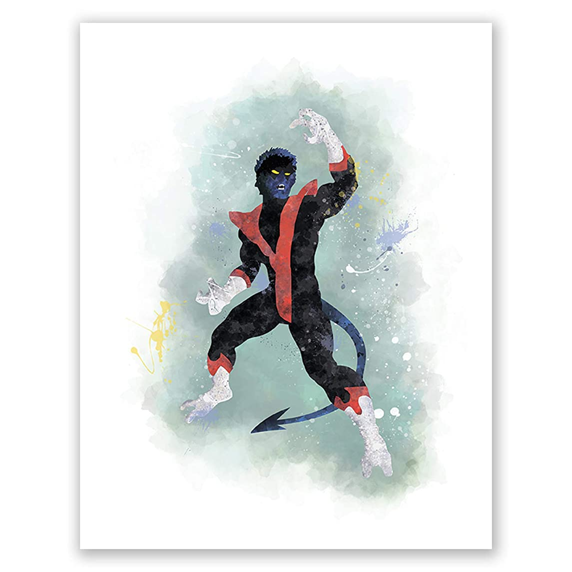 PGbureau Nightcrawler Poster - Superhero Watercolor Wall Art Print for Boys - Xmen Wall Art for Nursery (8x10)
