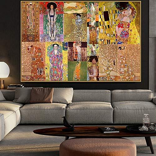 YHZSML Leinwand Gemälde Wandkunst Dekoration Gustav Klimt Poster HD Drucke Abstrakte Modulare Bilder Wohnzimmer 50x75 cm