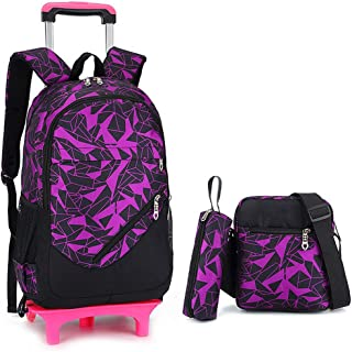 ASdf Large-Capacity Girl Tow Backpack Can Climb Stairs Waterproof Detachable Trolley Bag Outdoor Decompression Trolley Case (Color : Purple, Size : Two Rounds)