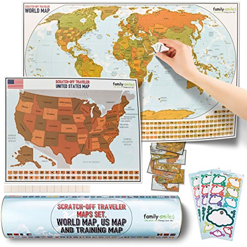 family-smile, Scratch-Off Educational & Travel Log Map Set. Two in one: Scratch Off World map & Scratch Off map USA (Summer Bonus: Four Tools are Included)