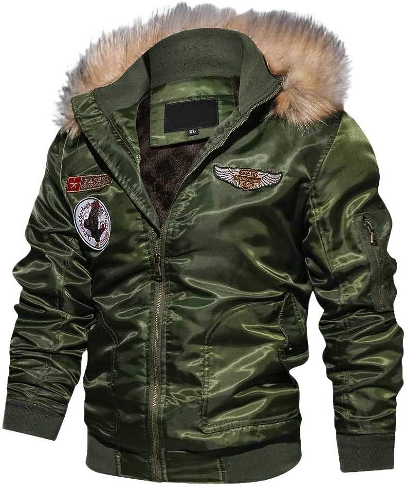DIOMOR Mens Punk Style Fleece Lining Down Coat with Fur Hood Full Zip Bomber Jacket Windbreaker Parkas