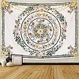 Sunm Boutique Tapiz de pared con diseño de mandala, medallón de flores, bocetos, planta de flores, hippie, bohemio, para habitaciones (130 x 150 cm)