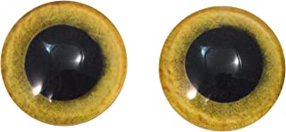 20mm Yellow Owl Glass Eyes Doll Irises for Art Polymer Clay Taxidermy Sculptures or Jewelry Making Set of 2