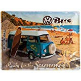 Nostalgic-Art VW Bulli Ready for The Summer Placa Decorativa, Metal, Multicolor, 30 x 40 cm