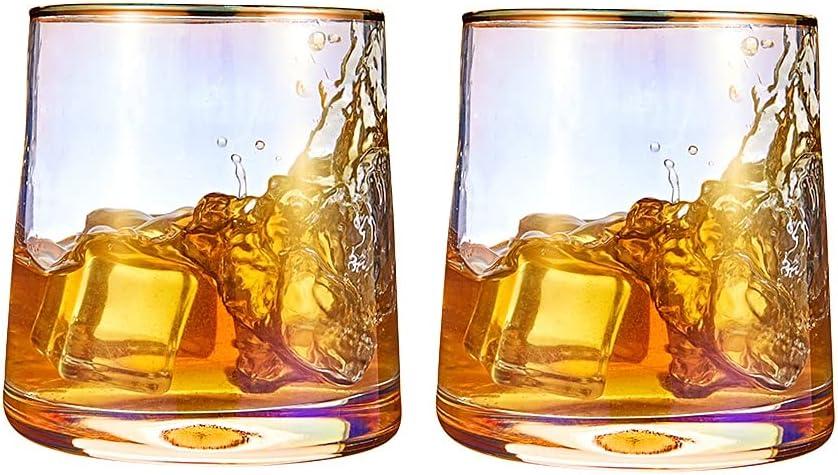 Whiskey Glasses Set Spasm price of 2 Max 72% OFF Cocktail Dri Rainbow Rocks Gold
