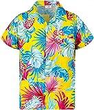 King Kameha Funky Casual Camisa hawaiana para niños y niñas bolsillo frontal manga corta Unisex Piña hojas impresión - amarillo - 24 meses