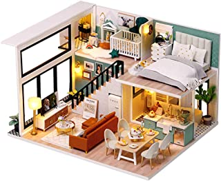 DIY Dollhouse Mini Doll House Accessories Miniature Dollhouse Kit Wooden Model Kits Furniture Toy with Dust Proof Music Mo...