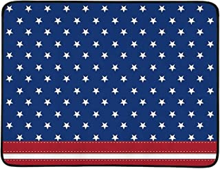 C COABALLA 4th of July Decor Portable Foldable Mat,Old Fashion US Flag Motif with Nostalgic Featured Stripes and Tones Print for Home,78″ L x 60″ W