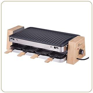 LITTLE BALANCE 8388 Wood 1500-8 Elegance - Raclette / Grill 8 personnes - 2 fonctions en 1 seul appareil - Revêtement ant...