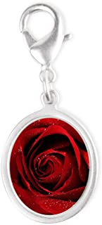 Silver Oval Charm Red Rose