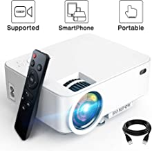 Mini Projector – 3600Lux Hompow Smartphone Portable Video Projector 1080P Supported..