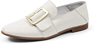 Honeystore Women's British Square Buckle Pointed Leather Loafer Flats Shoes