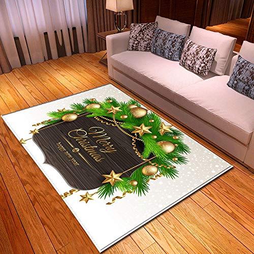 XuJinzisa Área De Feliz Navidad Alfombra De Impresión 3D Sala De Estar Dormitorio Hogar Alfombra De Juego Suave Antideslizante Alfombra Decorativa para El Hogar 120X120Cm H17126