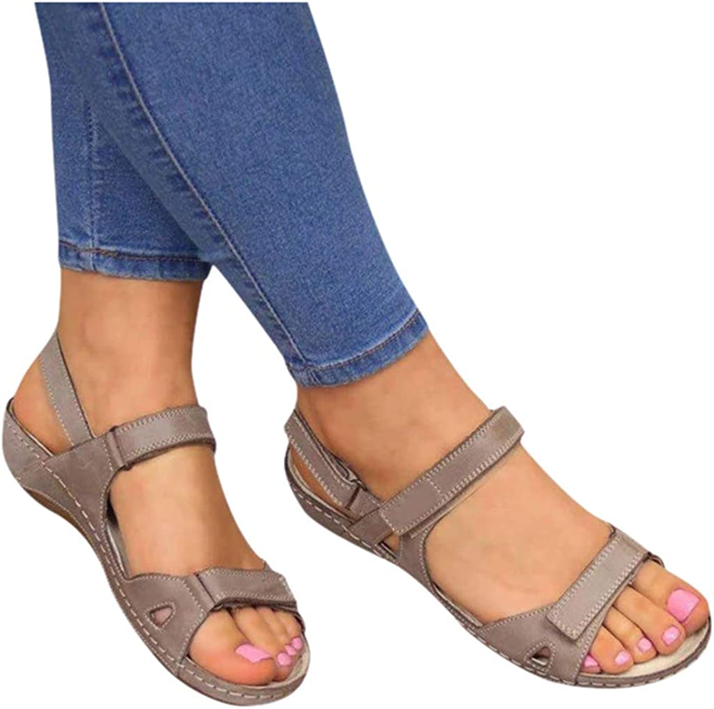 AZEWO Womens Fashion Sandals Leather Ankle Strap Flat Sandals Lightweight Comfortable Summer Strappy Sandals