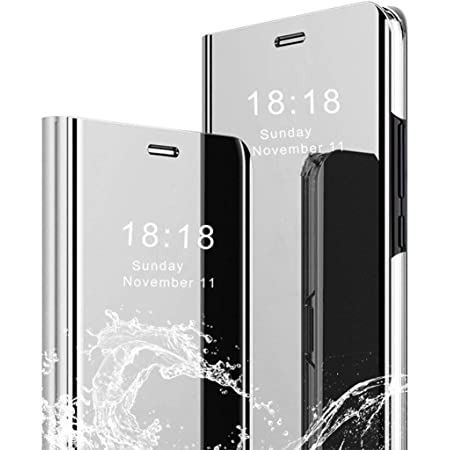 LANYOS Compatible Samsung Galaxy S8 Flip Case,Full Body Protection Translucent Electroplate Plating S-View Mirror Cover Built in Kickstand (Silvery)
