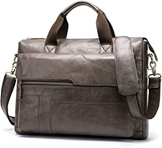JJJJD Leather Executive Briefcase, Male Messenger Bag for Business, Gray Vintage 14 Inch Laptop Tote