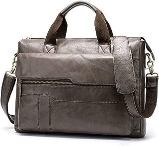 JJJJD Leather Executive Briefcase, Male Messenger Bag for Business, Gray Vintage 14 Inch Laptop Tote