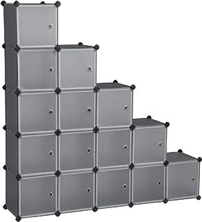 SONGMICS Estantería Modular Armario Modular de 16 Cubos Estantería de Plástico con Puertas para Zapatillas Ropa Jugue...