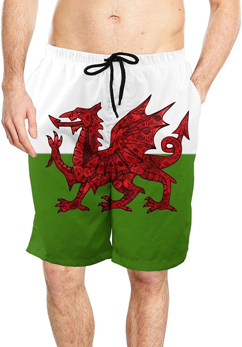 Welsh Flag with Red Dragon Men Quick Dry Beach Board Shorts Swim Trunks with Mesh Lining