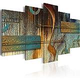 murando - Bilder Abstrakt 100x50 cm Vlies Leinwandbild 5 TLG Kunstdruck modern Wandbilder XXL Wanddekoration Design Wand Bild - Struktur Textur geometrische Formen türkis Gold a-A-0266-b-n