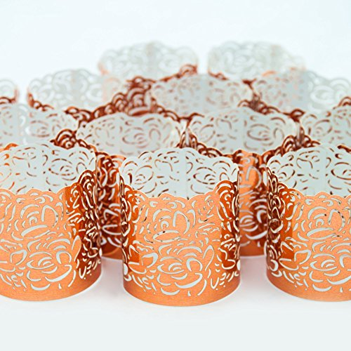 Frux Home and Yard FLAMELESS Tea Light Votive Wraps- 48 Copper Colored Laser Cut Decorative Wraps Flickering LED Battery Tealight Candles (not Included)