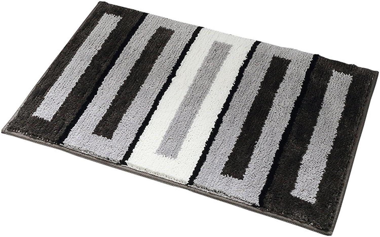 Home Decor Door Mat Anti-Slip Rubber Backing Rug for Indoor Outdoor Bathroom Entrance(Black Stripe,L)