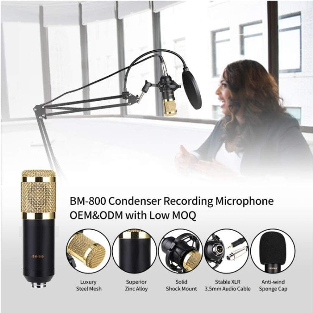 Golden DUTTY Professional BM800 Studio Condenser Microphone 3.5mm Wired BM800 Condenser Sound Recording Microphone for Computer Golden
