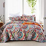 Autumn Dream Cotton Jacquard Quilt Bedspread Bedding Sets, Reversible Coverlet Set, Gorgeous Paisley Pattern Floral Bedspreads and Comforters, King Size(3 Pieces)