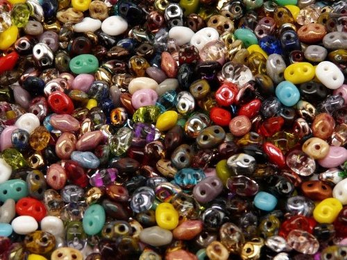 Jablonex 20gr Czech Perline, Beads SuperDuo 2 fori 2,5x5mm colore: Mix