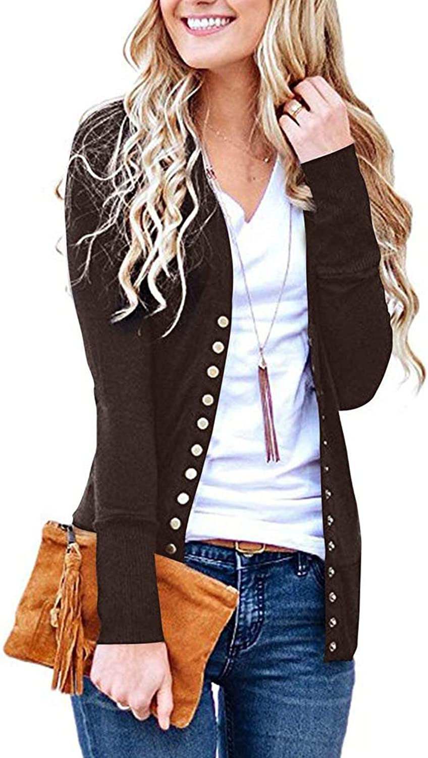 TAGOWELL Women V Neck Long Sleeve Button Front Knit Casual Cardigans Sweater