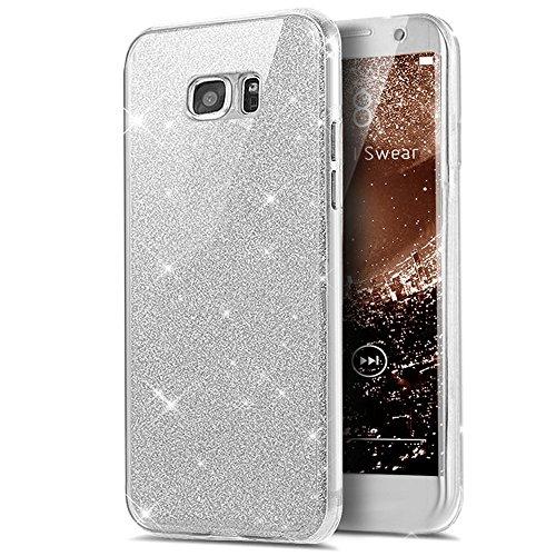 Kompatibel mit Galaxy S7 Hülle,Galaxy S7 Schutzhülle,Full-Body 360 Grad Bling Glänzend Glitzer Klar Durchsichtige TPU Silikon Hülle Handyhülle Tasche Hülle Front Cover Schutzhülle für Galaxy S7,Silber