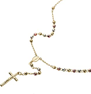 """Solid 14K Tri-color Gold Chain Cross Necklace DC Bead Rosary Necklace (16, 18, 20, 24, 26"""")"""