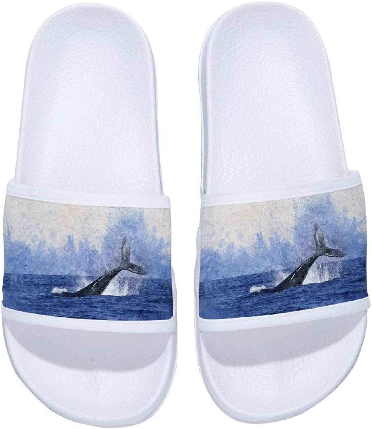 Buteri Whale into The Sea Painting Slippers Non-Slip Quick-Drying Slippers for Women Kids Men Kids