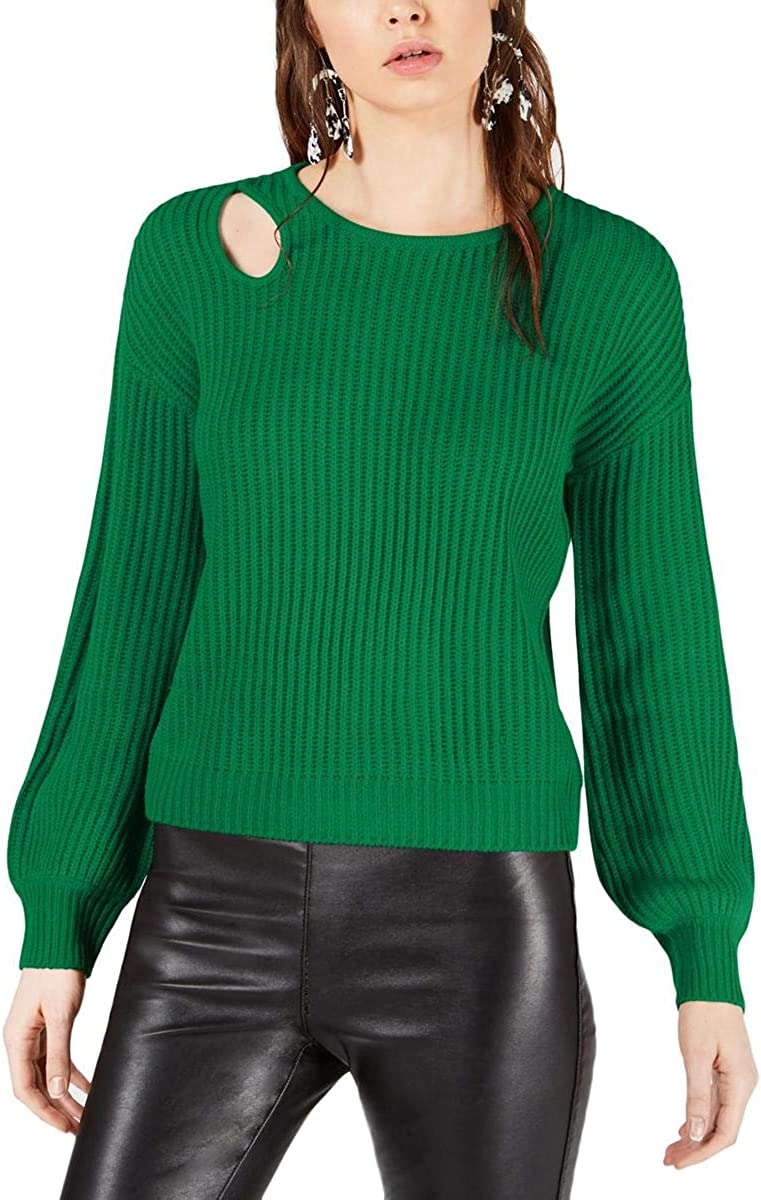 bar III Womens Cut Out Ribbed Pullover Sweater
