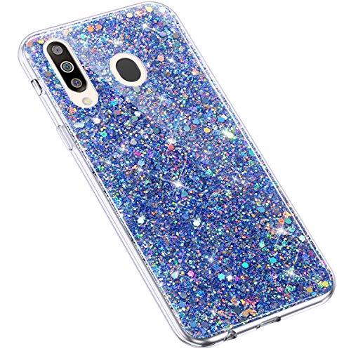 Uposao Kompatibel mit Samsung Galaxy M30 / A40S Hülle Silikon Glänzend Bling Glitzer Strass Schutzhülle Ultradünn Durchsichtig TPU Silikon Hülle Crystal Clear Case Transparent TPU Rückschale,Blau