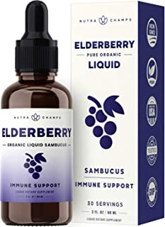 Organic Elderberry Syrup [Double Strength] Liquid Extract for Kids & Adults - Immune Support & Relief from Cold & Allergies - 2oz Vegan Sambucus Nigra Antioxidant Drops Supplement - Berry Flavor