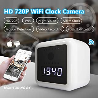 Safamily HD WiFi Hidden Nanny Spy Camera Clock, Wireless IP Home Security Cam, Motion Detection, Wall/Battery Powered,App Control and Remote Viewing